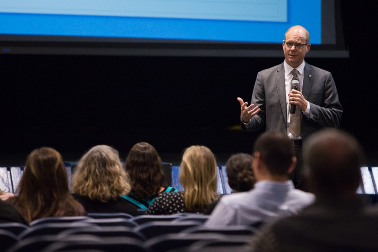 AHISD Superintendent Kevin Brown gives his remarks prior to the presentation. Photo by Scott Ball.