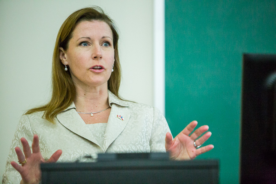 Consul General of Canada Sara Wilshaw explains the role of cybersecurity internationally. Photo by Scott Ball.