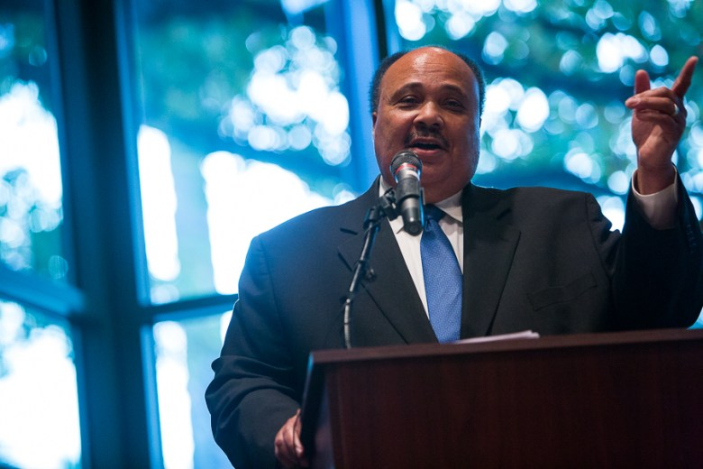 Martin Luther King III gives a speech during the opening day of DreamWeek 2016. Photo by Scott Ball.