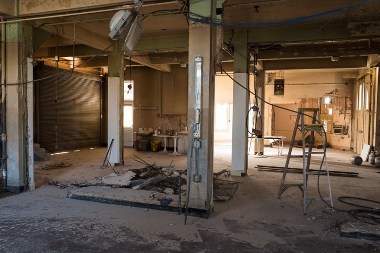 Inside the former Fire House No. 7, construction and renovations continue for Andrew Goodman's new Italian restaurant. Photo by Scott Ball.
