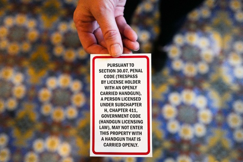The card handed out to open carriers at The Hotel Emma. Photo by Scott Ball.