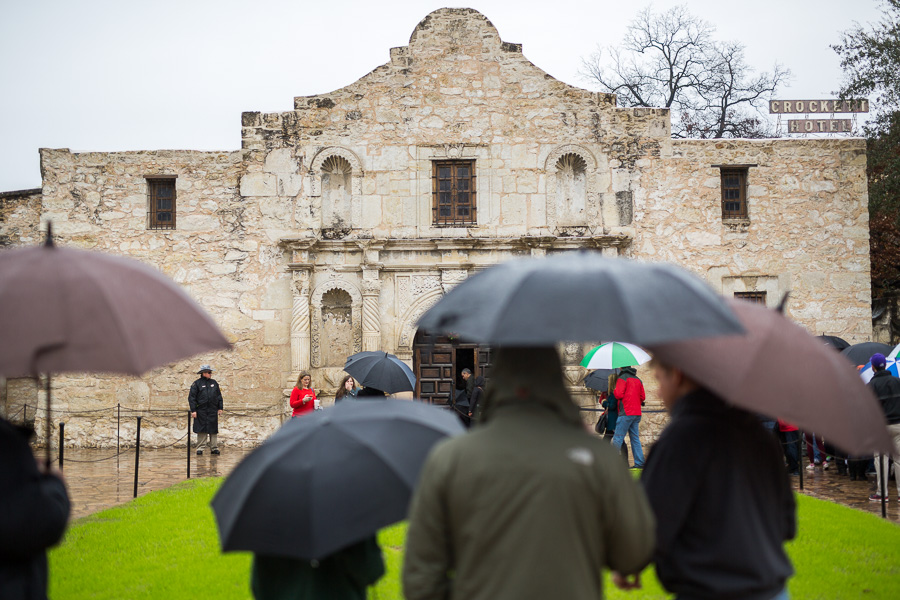 Open and concealed carry of handguns is allowed at the Alamo, owned by the state, and in Alamo Plaza, owned by the City. Photo by Scott Ball.