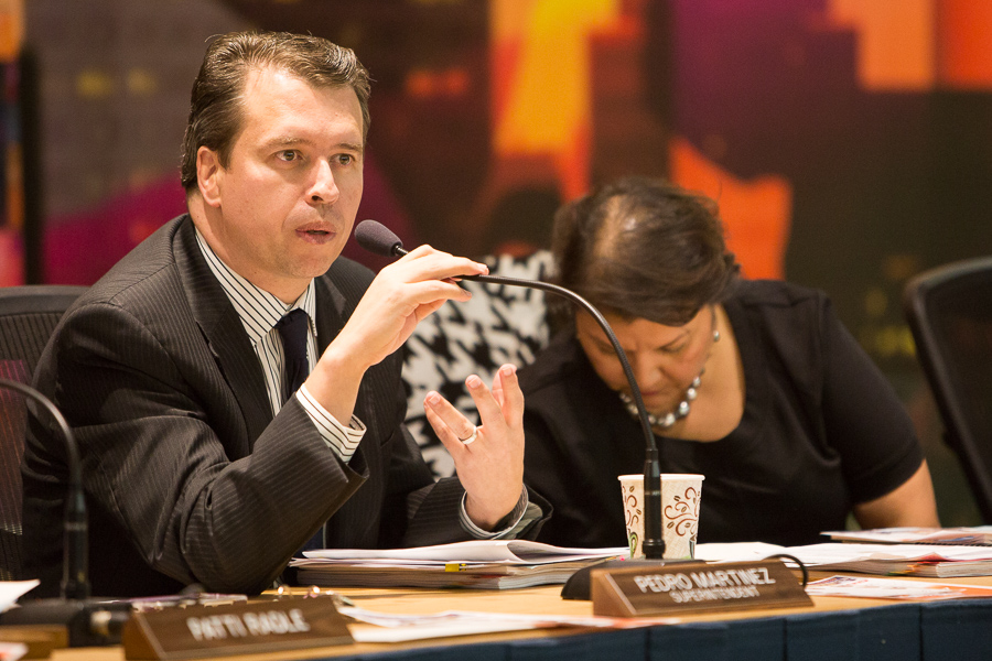 SAISD Superintendent Pedro Martinez speaks during a board meeting. Photo by Scott Ball.
