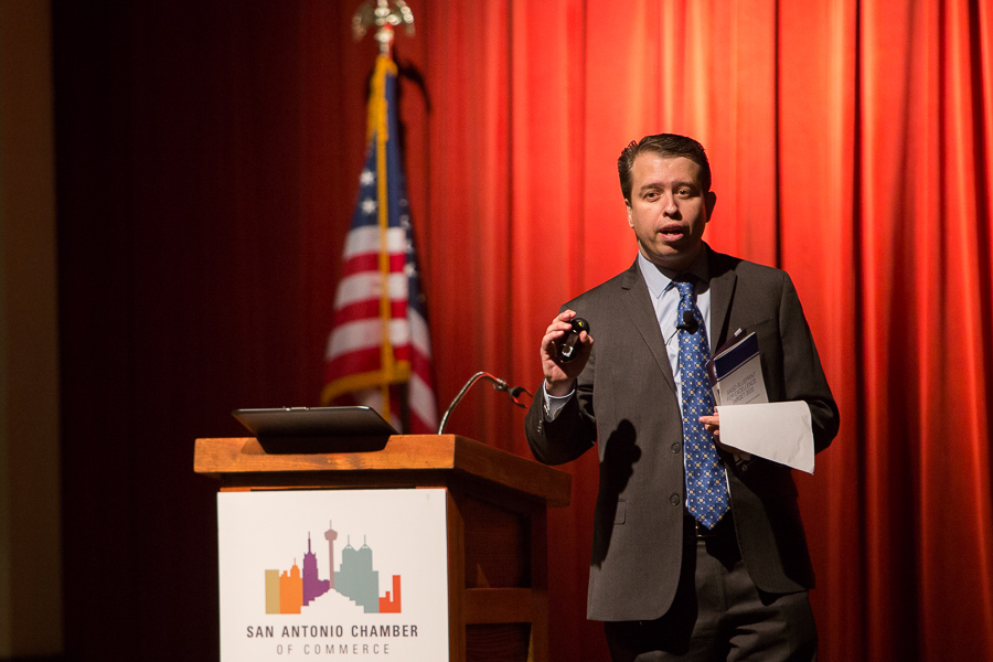SAISD Superintendent Pedro Martinez gives the State of the District address. Photo by Scott Ball.