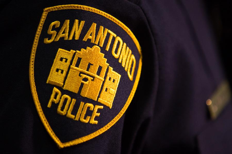 The San Antonio Police Department badge worn on Chief William McManus. Photo by Scott Ball.