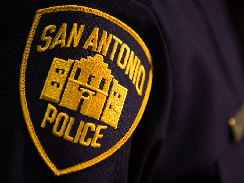 The San Antonio Police Department badge worn on Chief William McManus. Photo by Scott Ball.