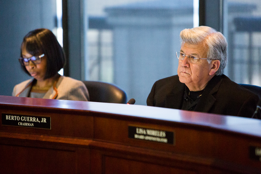 SAWS Chairman Berto Guerra, JR listens to a speaker during a board meeting. Photo by Scott Ball.
