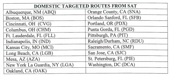 targeted cities for SAT airline incentives