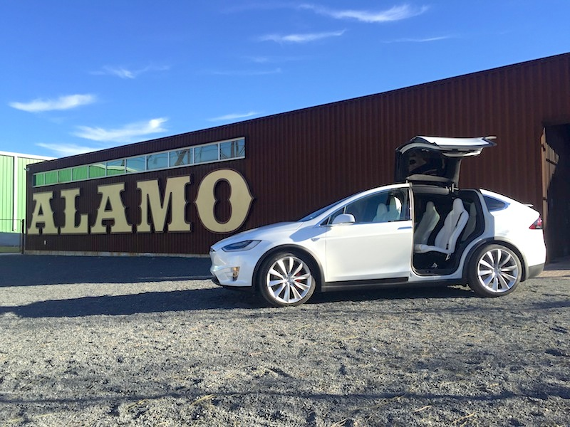 Tesla Model 3 at Alamo Beer Company's brewery in the Eastside. Photo by Greg Papay.