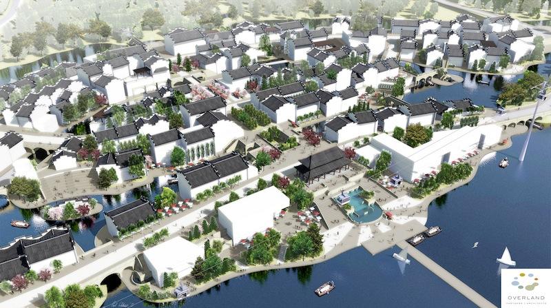 Rendering of Gaochun New Town Center, Gaochun, China. Image courtesy of Overland Partners.