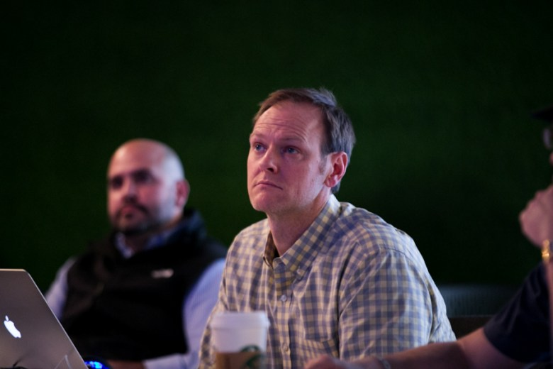 Tech Fuel judge Michael Girdley, founder and CEO of Codeup, listens to startup pitches to ask questions about feasibility and marketability. Photo by Kathryn Boyd-Batstone.