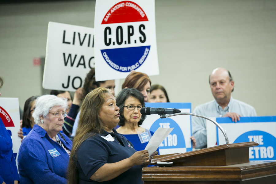 Vanita Rodriguez, a school cafeteria worker, spoke about the struggles of working two jobs in an effort to support her seven children. Photo by Kathryn Boyd-Batstone