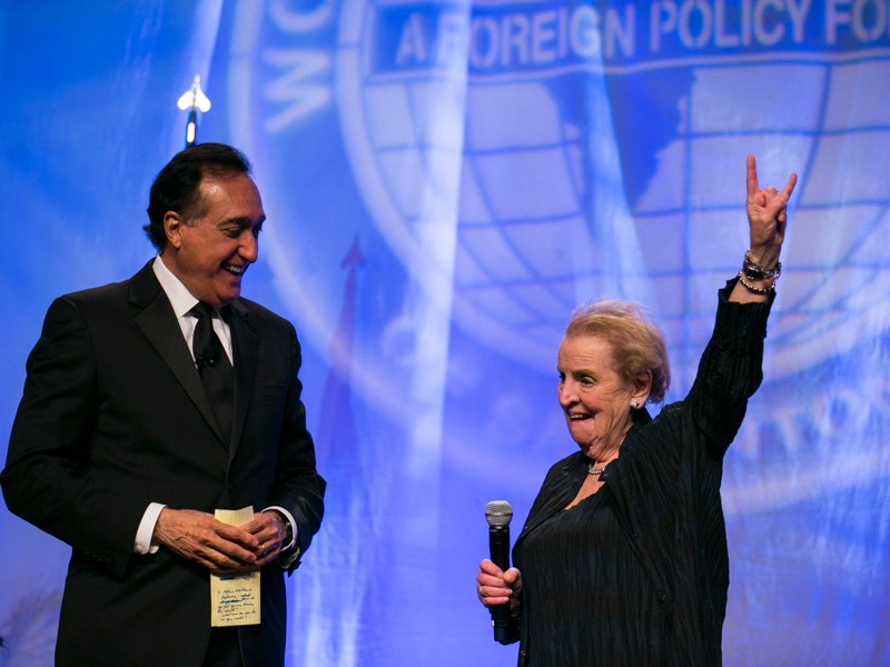 "Madam Secretary Madeleine Albright greets the crowd a ""buck 'em"". Photo by Kathryn Boyd-Batstone"
