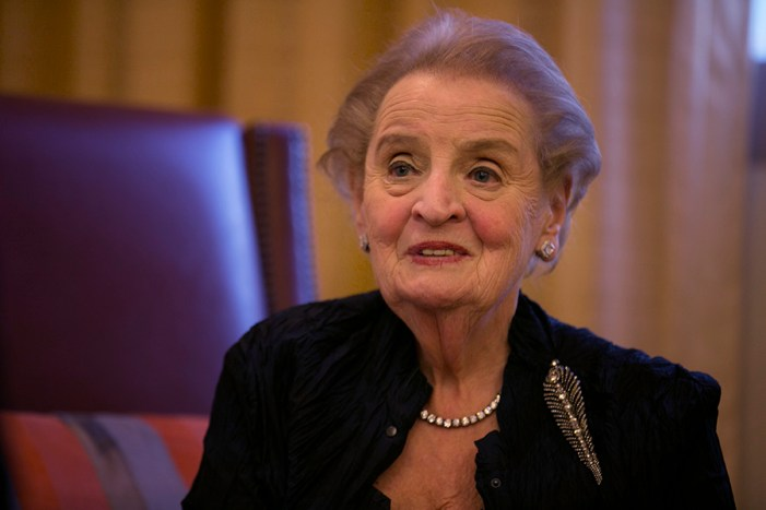 "Former Secretary of State Madeleine Albright describes herself as an ""optimist who worries a lot."" Photo by Kathryn Boyd-Batstone."