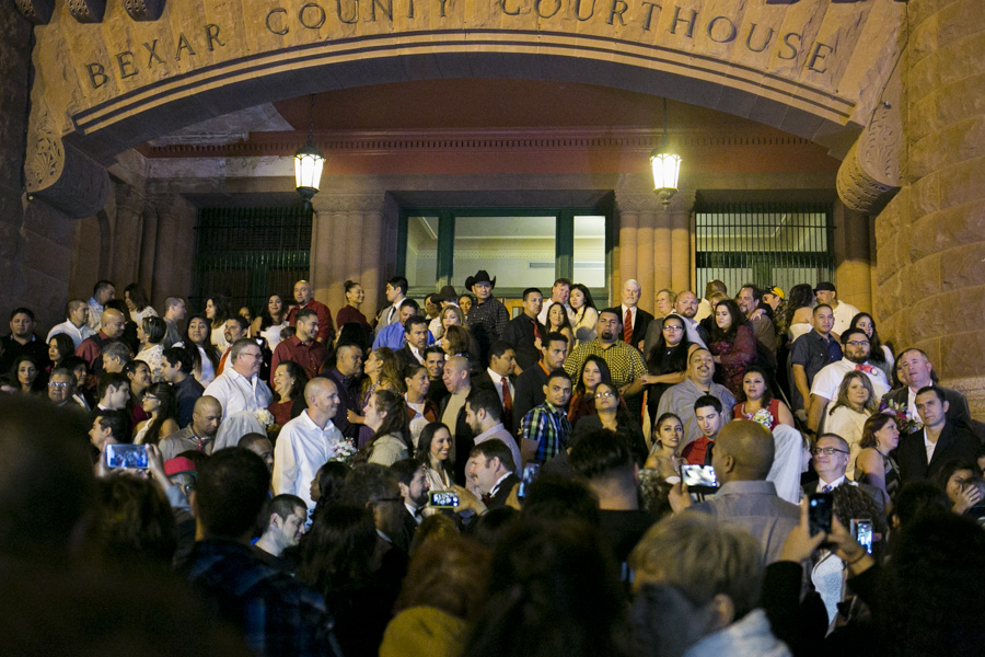 Hundreds of people gathered for the Valentine's Day mass marriages. Photo by Kathryn Boyd-Batstone