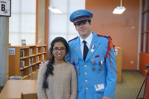 Niraja Surendran, SABF Fiction Contest winner, 11th/12th grade division, and Texas Cavalier Clay Carrington.