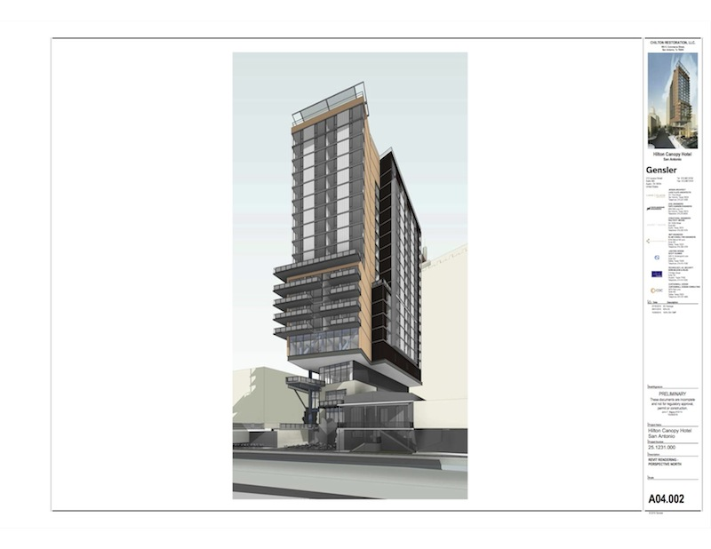 A River Walk view of the 24-story hotel proposed in downtown San Antonio. Rendering courtesy of Gensler.