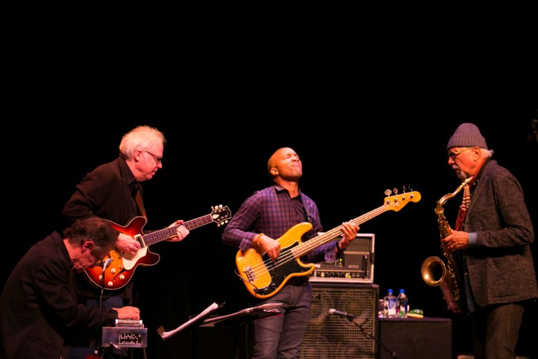 Charles Lloyd and The Marvels include saxophonist and flutist Charles Lloyd, multi-Grammy nominated drummer Eric Harland, basses Reuben Rogers, guitarist Bill Frisell, and pedal steel player Greg Leisz. Photo by Kathryn Boyd-Batstone