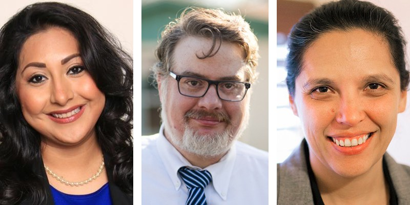 District 116 candidates from left: Diana Are?valo (courtesy photo), Martin Golando (photo by Kathryn Boyd-Batstone), and Ruby Resendez (photo by Kathryn Boyd-Batstone).