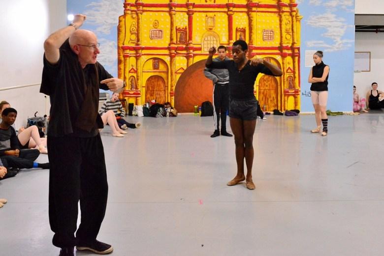 "Choreographer Peter Anastos coaches Christopher McDaniel in a bit of ""business."" Ballet San Antonio rehearsal, February 2016. Photo by Tami Kegley."