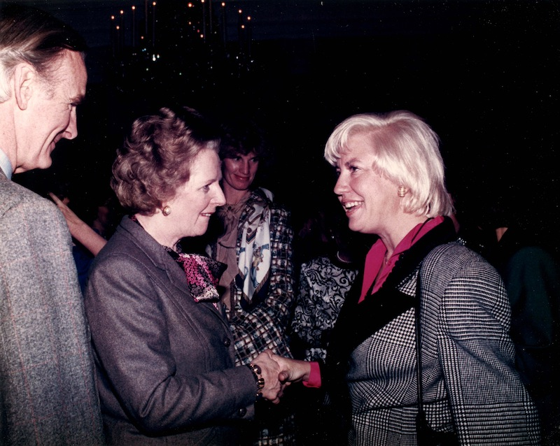 Jane Macon (right) welcomes British Prime Minister Margaret Thatcher before Thatcher's inauguration to the 1990 Texas Women's Hall of Fame. Courtesy Photo.