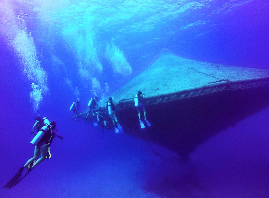 Divers around the open-ocean aquaculture cage at the Cape Eleuthera Institiute in The Bahamas. Photo by Kelly Martin.