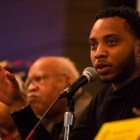 Kwame Rose gives his thoughts on a question about racial supremacy. Photo by Scott Ball.