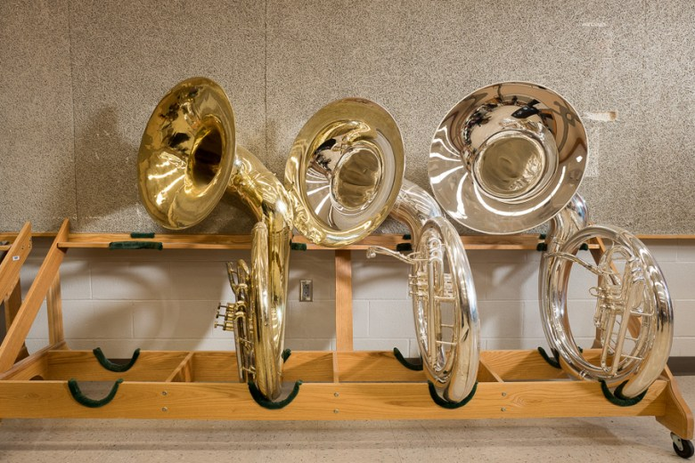 Burbank HS Mighty Bulldog Band tubas. Photo by Scott Ball