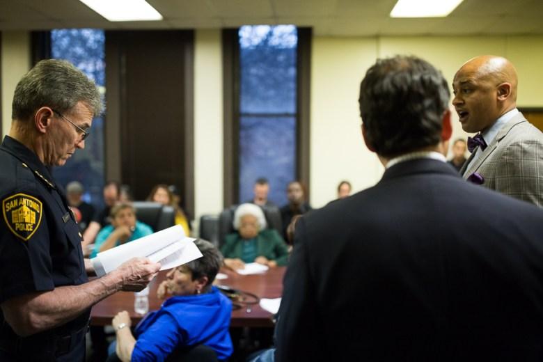 Councilman Alan Warrick (D2) speaks with San Antonio Police Chief William McManus as Senator José Menéndez looks on. Photo by Scott Ball.