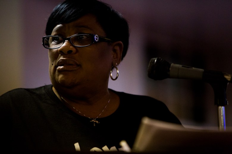 Debbie Bush, the aunt of Marquise Jones gives a prepared speech at the beginning of the meeting. She was cut short by Cassandra Littlejohn. Photo by Scott Ball.