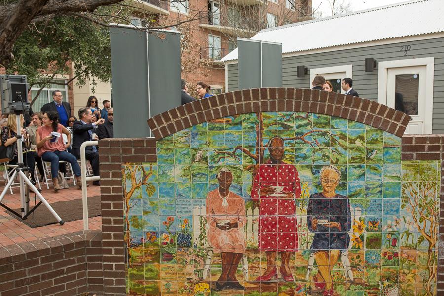 A mosaic art piece dedicated to three influential African-American women; Artemesia Bowden, Myra Davis Hemmings, and Hattie Briscoe. Photo by Scott Ball.