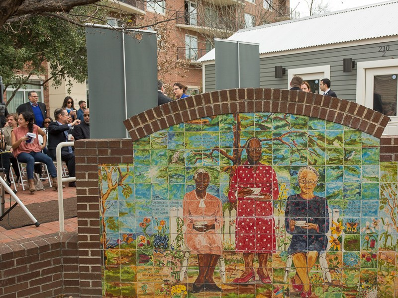 A mosaic art piece dedicated to three influential African-American women; Artemesia Bowden, Myra Davis Hemmings, and Hattie Briscoe. Photo by Scott Ball.