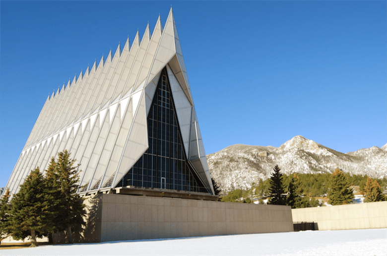 The Cadet Chapel at the U.S. Air Force Academy in Colorado Springs, Colo. hosts between 500,000 and 1 million visitors annually. Photo courtesy of the U.S. Air Force Academy.