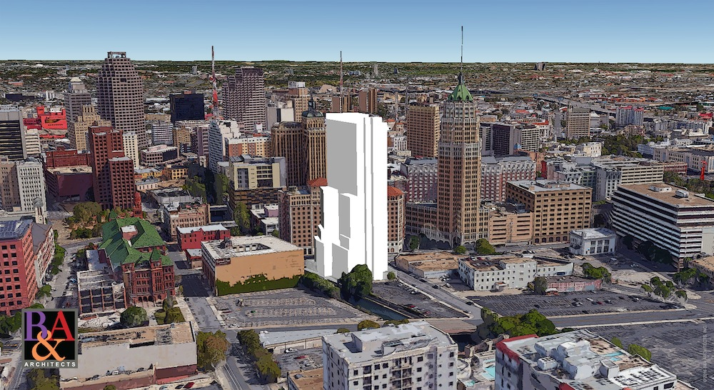 The JMJ Towers River Walk. Rendering courtesy of B&A Architects, Inc.