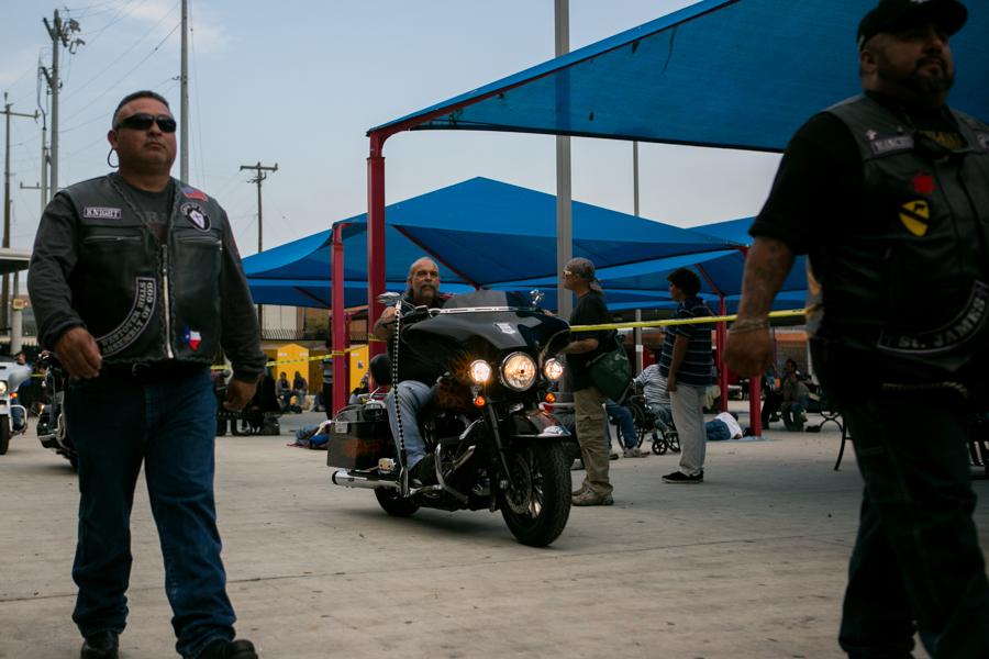 Machine Gun Preacher Sam Childers enters Haven For Hope on his Harley. Photo by Kathryn Boyd-Batstone