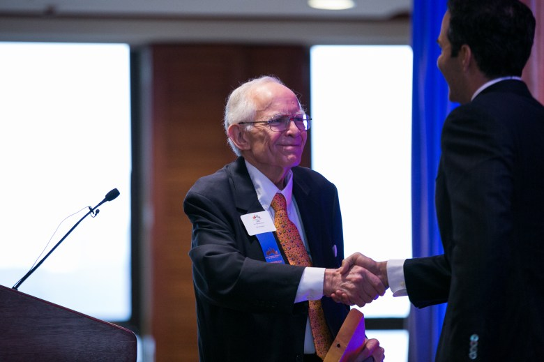 Chairman of Dannenbaum Engineering Corporation and member of the Alamo Endowment Board Jim Dannenbaum welcomes Texas Land Commissioner George P. Bush to the stage. Photo by Kathryn Boyd-Batstone