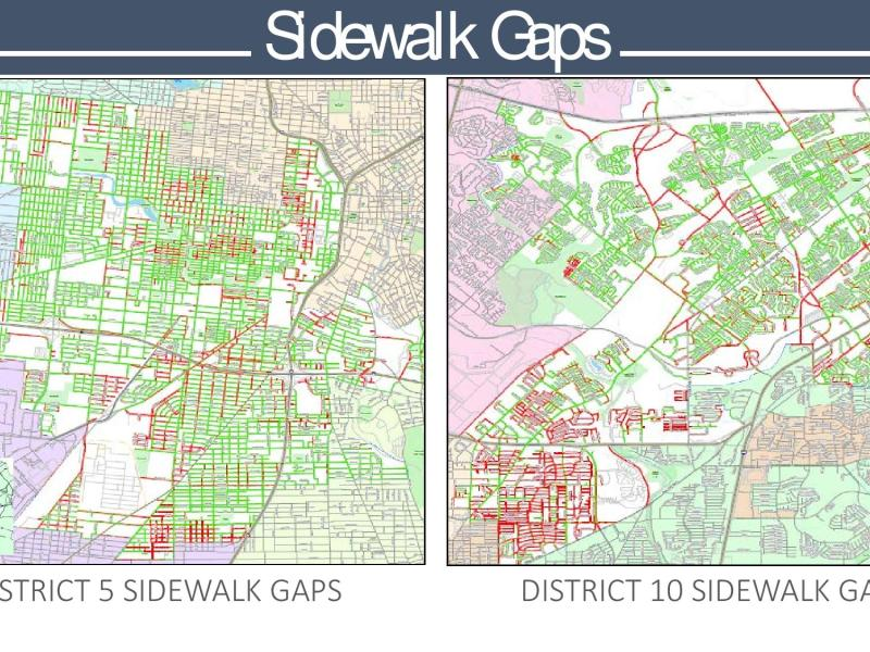 This map shows gaps in sidewalks in City Council Districts 5 and 10, as a means to show comparison in concentration of such gaps that vary district to district. Illustration courtesy/City of San Antonio