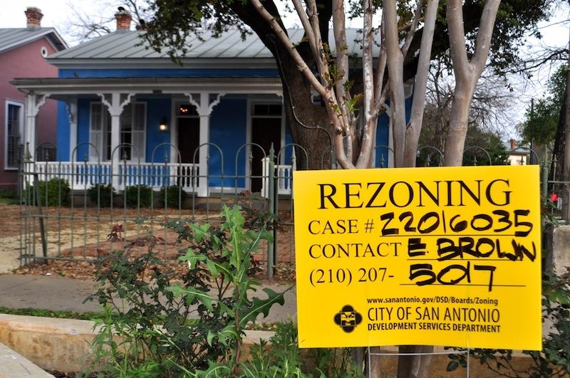 A City rezoning notification outside the future Casa Azul De Andrea restaurant. Photo by Iris Dimmick.