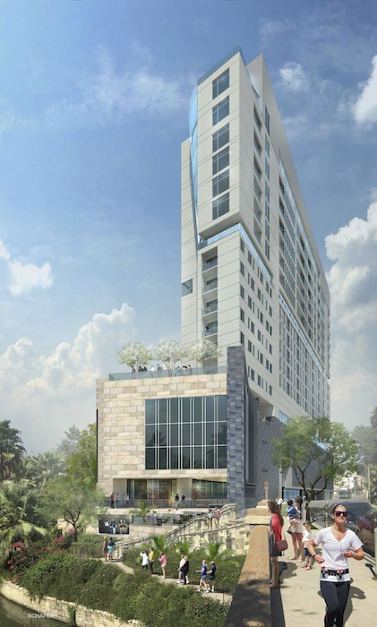 Promotional rendering of The Thompson Riverwalk Hotel and condo building.