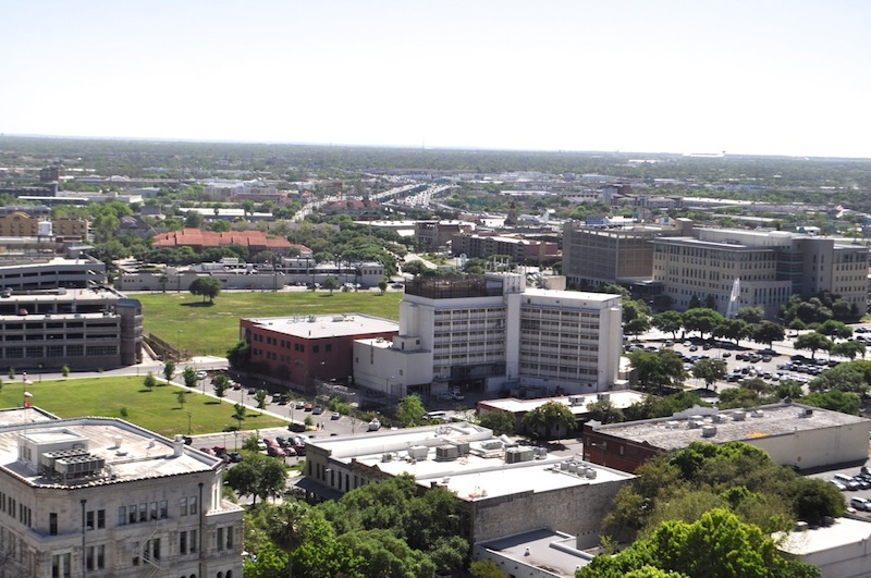 Bexar County owns almost the entire block that features the Central Texas Detention Facility and other buildings and is sandwiched by two City-owned surface lots. Photo by Iris Dimmick.