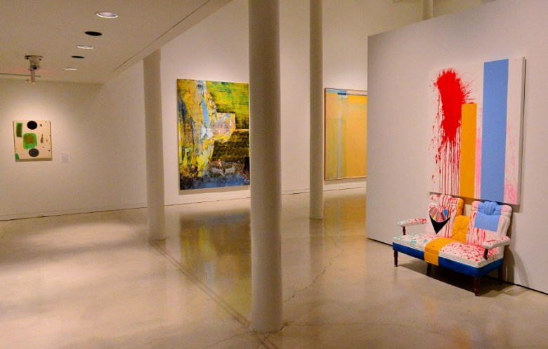 """""""love seat"""" (2015) by Sarah Cain (r) with works by Connors, Flood and Diebenkorn. Photo by Page Graham."""