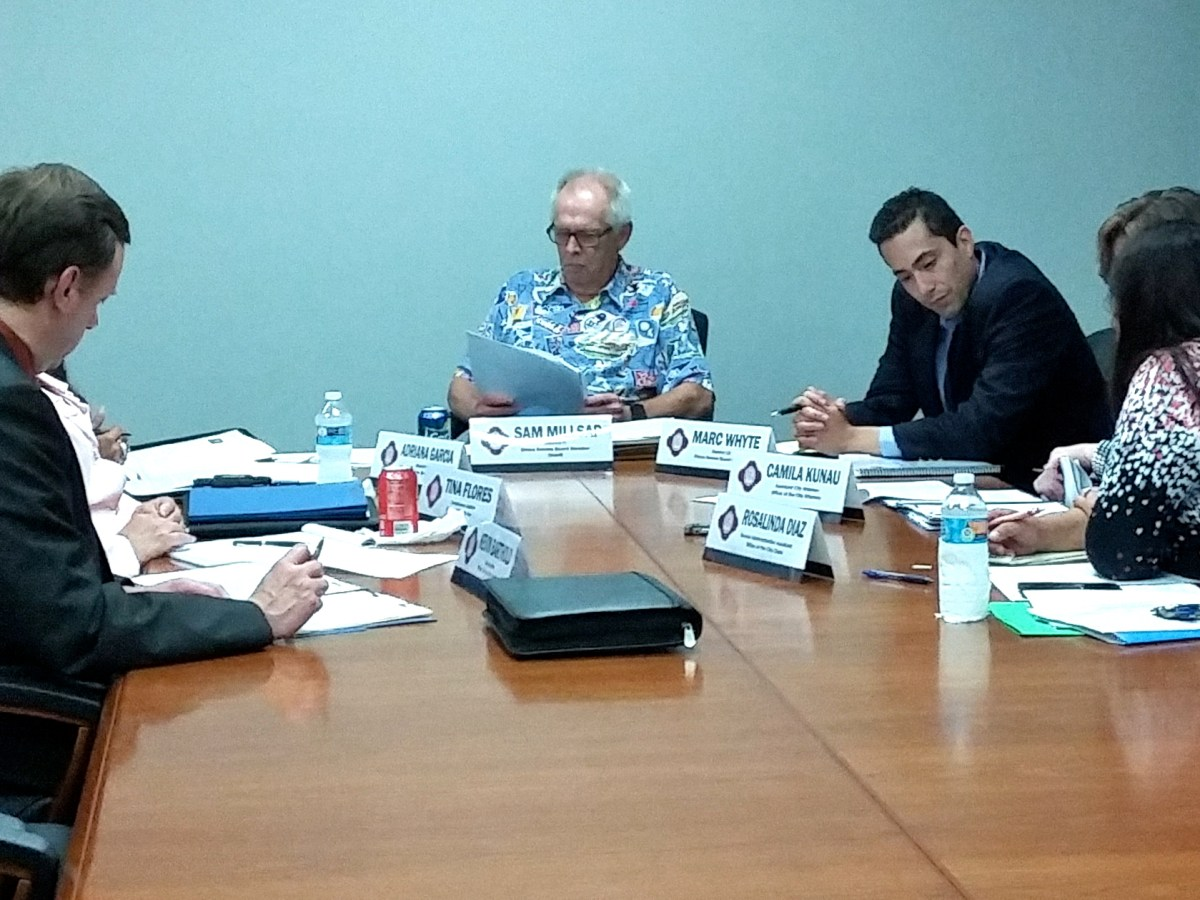 Sam Millsap, chairman of the City's Ethics Review Board, and colleagues meet in a regular session at the Municipal Plaza Building on Tuesday, March 29, 2016. Photo by Edmond Ortiz