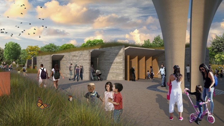 Confluence Park will include a multi-purpose building for meeting space, bathrooms and storage. Image courtesy of Lake/Flato Architects and the San Antonio River Foundation.