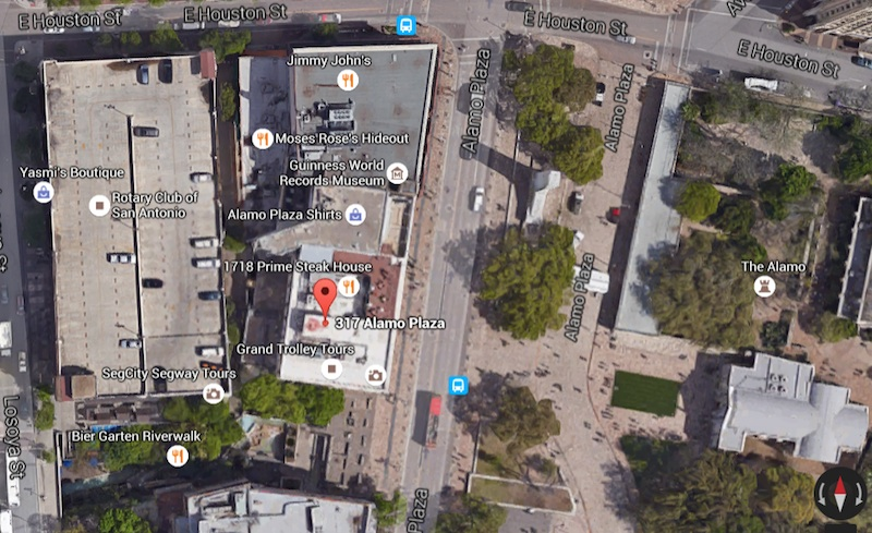 This aerial view shows the Crockett Block (317 S. Alamo), Palace Theater, and Woolworth Building serving as a screen between the Losoya Street Garage (to the west) and the view from Alamo Plaza. Imagery ©2016 Google, Map data ©2016 Google.