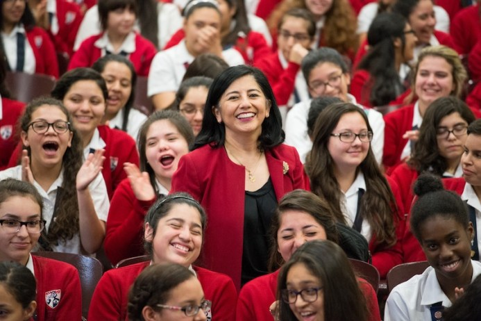 Delia McLerran, principal of Young Women's Leadership Academy, is a finalist in the 2016 H-E-B Excellence in Education Awards. Photo by Darren Abate for H-E-B.