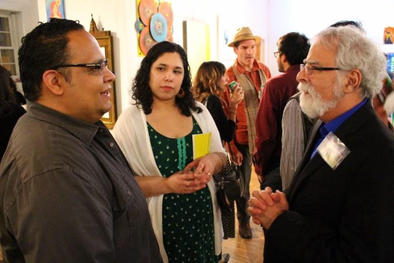 David Rubin (r) chats with Alejandro Augustin Padilla (l) at Bihl Haus Arts, 2014. Photo by Page Graham.