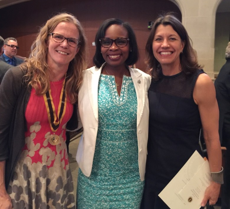 San Antonio Poet Laureate Jenny Browne, Mayor Ivy Taylor, and San Antonio Book Festival Executive Director Katy Flato pose for a photo after Browne's official investiture on Monday, March 28, 2016. Photo by Wendy Atwell.