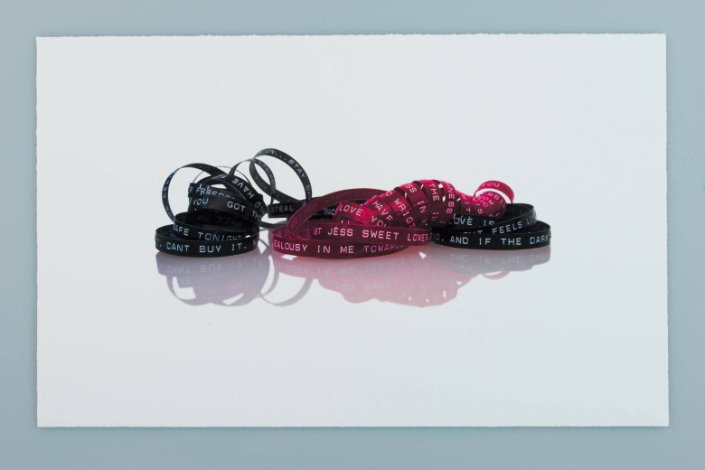 """""""Love Letter with Song Lyrics,"""" 2001, digital print, printed by Hare & Hound Press. Courtesy photo."""