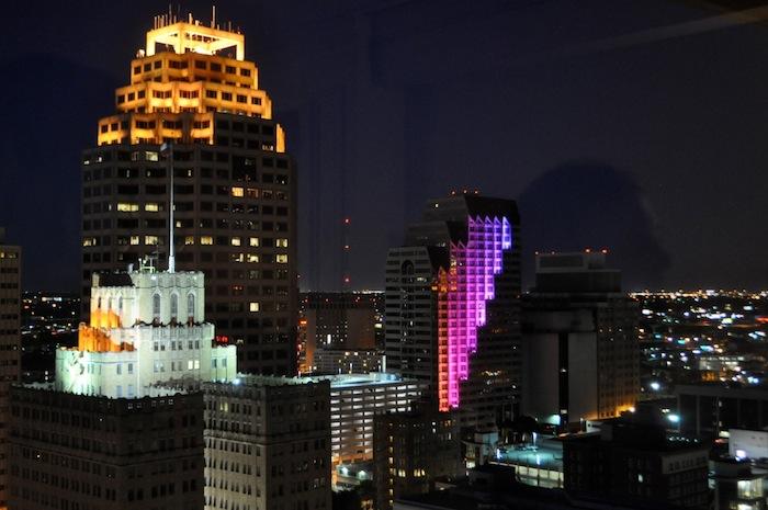 Kinetic Skyline lights up San Antonio's Skyline. Photo by Kathryn Boyd-Batstone.