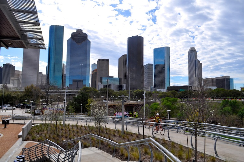 The Houston skyline from The Water Works building in Buffalo Bayou Park. Photo by Iris Dimmick.